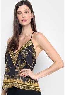 Blusa Sommer Estampada Decote V Feminina - Feminino-Preto+Mostarda