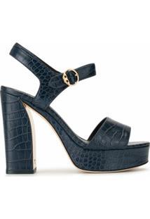 Tory Burch Sandália Plataforma Com Efeito De Pele De Crocodilo - Azul