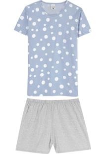 Pijama Azul Poá Em Algodão Mescla Plus