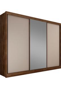 Guarda-Roupa Casal Com Espelho 3 Portas Diamond- Novo Horizonte - Canela / Off White