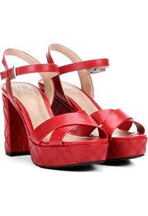 Sandália Texturizada Dumond Salto Alto Feminina - Feminino-Vermelho
