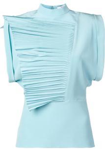 Givenchy Blusa Com Pregas E Babados - Azul