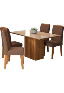 Conjunto De 4 Cadeiras Para Sala De Jantar 130X80 Ana/Tais-Cimol - Savana / Off White / Chocolate