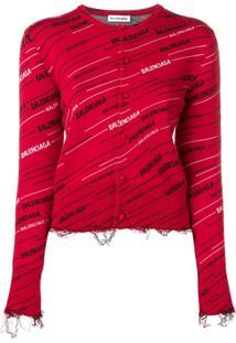 Balenciaga Cardigan Com Logo - Vermelho