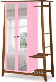 Guarda-Roupa Solteiro Stoka Com Espelho 2 Pt Nogal E Rosa Cristal