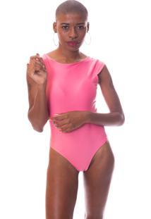 Body Moda Vicio Manga Curta Decote Costas Com Bojo Rosa