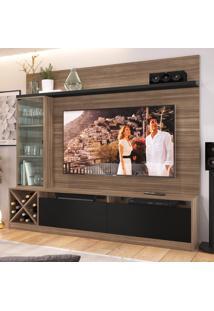 Estante Para Tv Até 65 Polegadas 3 Portas 2020 Mn/Ptx Montana/Preto - Quiditá Móveis