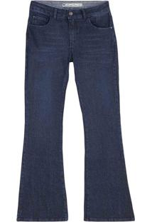 Calça Jeans Flare Feminina Com Lavação E Cintura Intermediária