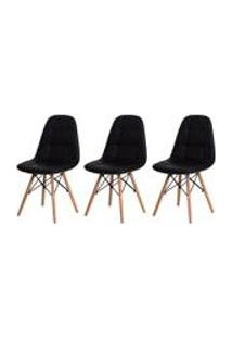 Kit 3 Cadeiras Eiffel Botone Eames Dsw Preta Base Madeira Sala Jantar Cozinha