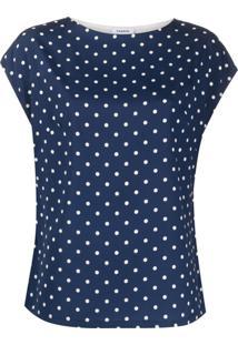 P.A.R.O.S.H. Blusa De Seda Com Estampa De Poás - Azul