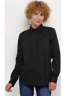 Camisa Colcci Manga Longa Básica Feminina - Feminino-Preto