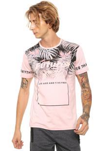 Camiseta Local Estampada Rosa
