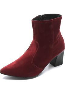 Bota Dafiti Shoes Camurça Vinho