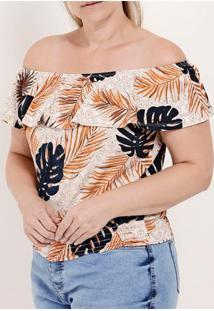 Blusa Ciganinha Plus Size Feminina Autentique Bege/Laranja