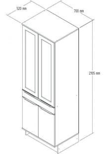 Paneleiro Duplo 4 Portas 1 Gaveta Com Rodapé Modulado Slim Decibal Acácia/Branco