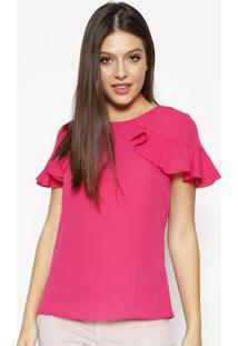 Blusa Com Babados Recorte Vazado - Pinkmoiselle