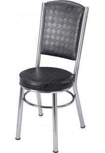 Cadeira Estofada Ca 997 Móveis Brastubo Cromado/Preto Quadriculado