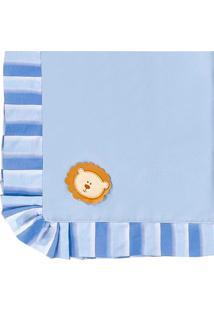 Manta Enxoval Piquet Padroeira Baby Zoo Baby Azul