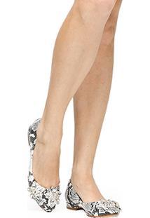 Sapatilha Couro Shoestock Pedrarias Flor Feminina - Feminino