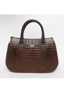 Bolsa Em Couro Texturizada- Marrom Escuro- 23X33,5X1Di Marlys