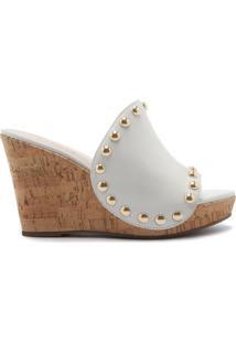 Sandália Anabela Leather White   Schutz