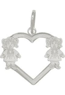 Pingente Prata Mil Coração Vazado 2 Meninas Prata