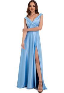 Vestido Izad Longo Em Cetim Saia Godê Com Fenda Azul Claro