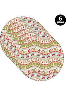Capa Para Sousplat Mdecore Natal Papai Noel Verde 6Pçs