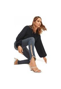 Calça Morena Rosa Super Skinny Isabelli Cós Alto Com Cadarço Jeans