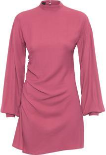 Vestido Curto Drapeado Irregular - Rosa