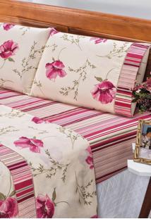 Jogo De Lençol Bia Casal Estampado 180 Fios 4 Peças - Floral Pink