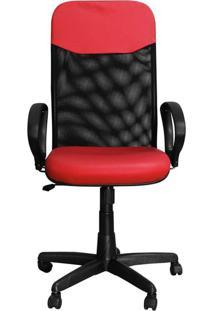 Cadeira Pethiflex Pp-04Gtbp Giratória Couro Vermelho