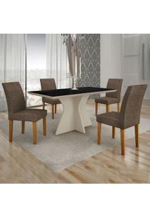 Conjunto De Mesa De Jantar Creta Iii Com 4 Cadeiras Olímpia Linho Preto E Marrom