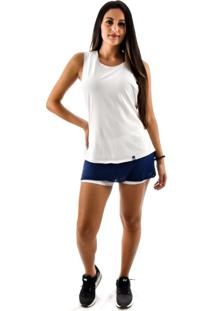 Regata Rich Young Fitness Branca Shorts Saia Fitness Azul Com Branco