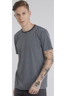 Camiseta Masculina Básica Listrada Manga Curta Gola Careca Cinza Mescla Escuro