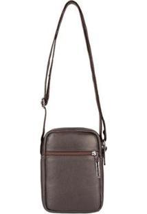 Bolsa Masculina Shoulder Bag De Couro Pietro - Masculino-Café