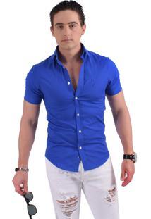 Camisa Horus Social Manga Curta Slim Azul Royal 500204