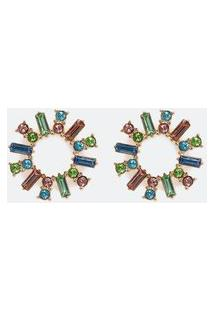 Brinco Circular Com Filetes De Cristais Coloridos | Accessories | Multicores | U
