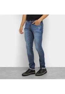 Calça Jeans Skinny Lacoste Estonada Cintura Baixa Masculina - Masculino-Azul