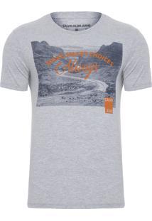 Camiseta Masculina Estampa Escritos - Cinza