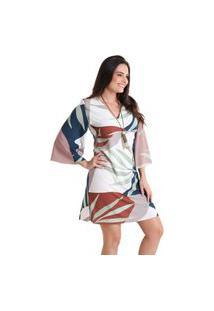 Vestido Decote V Cerrado - Laranja - Líquido