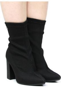Bota Meia Dakota Ankle Boot Salto Alto Feminina - Feminino-Preto