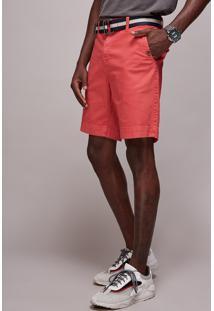 Bermuda De Sarja Masculina Reta Com Cinto Rosa Escuro