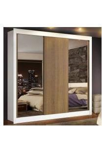 Guarda-Roupa Casal Madesa Lyon Plus 3 Portas De Correr Com Espelhos 4 Gavetas Cor:Branco/Rustic
