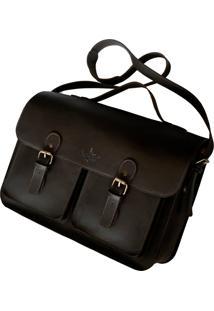 Bolsa Line Store Satchel Pockets Extra Grande Couro Marrom. - Kanui