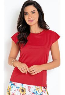Blusa Vermelha Com Babado Moda Evangélica