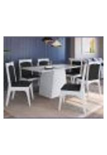 Conjunto De Mesa Com 6 Cadeiras Branco E Preto Lilies Móveis