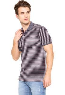 Camiseta Polo Calvin Klein Estampada Cinza/Vinho