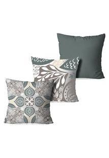 Kit 3 Capas Para Almofadas Decorativas Love Decor Clean Elements Multicolorido Branco