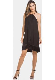 Vestido Com Franjas Em Tecido Preto Reativo - Lez A Lez